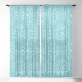 White Geometric Swirls 3 Sheer Curtain