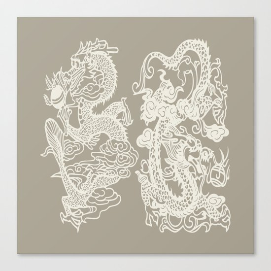 Gray Grey Alabaster Dragon Gate Canvas Print