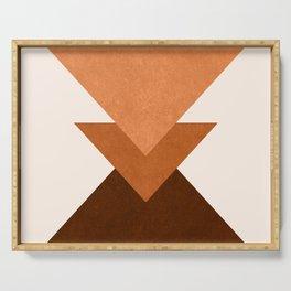 Geometric Blocks in Terracotta Serving Tray