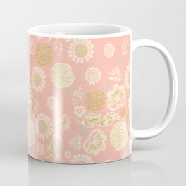 Blush pink spring meadow wild flowers with gold glitter blooms Coffee Mug