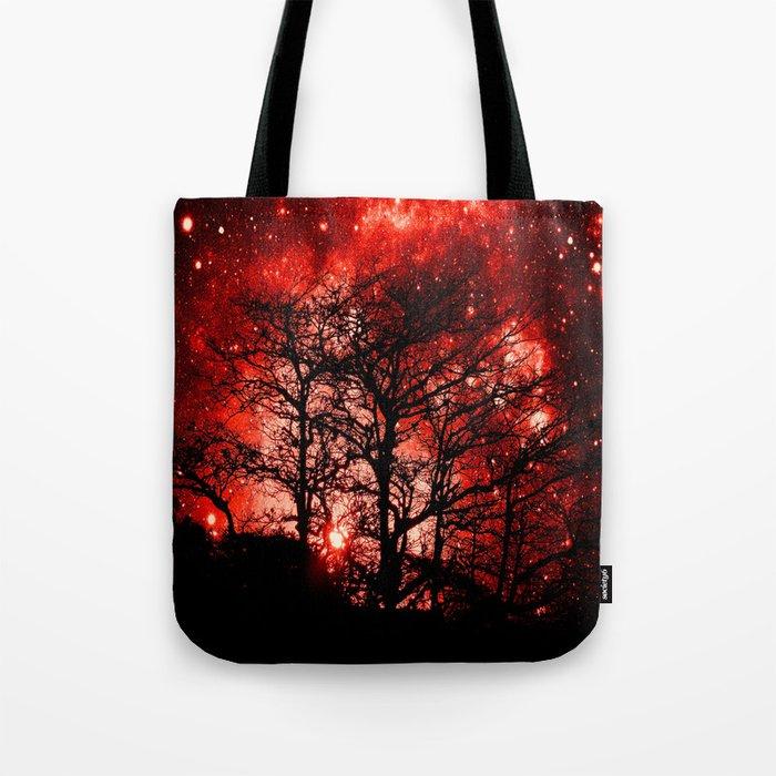 black trees red space Tote Bag