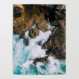 Ocean Waves Crushing On Rocky Landscape, Drone Photography, Aerial Landscape Photo, Ocean Wall Art Poster