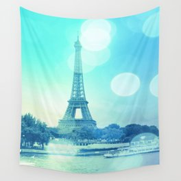 Paris Bokeh Aqua Wall Tapestry