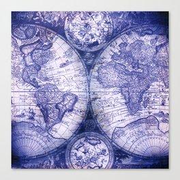 World Map Antique Vintage Navy Blue Canvas Print