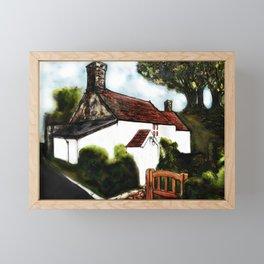 White Cottage and Roadside, Digital Artwork.. Framed Mini Art Print