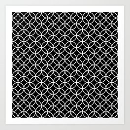 Black and White Overlapping Circles Art Print