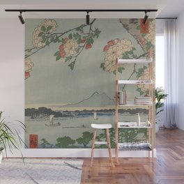 Cherry Blossoms on Spring River Ukiyo-e Japanese Art Wall Mural