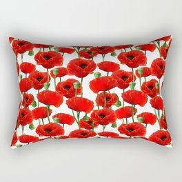 Red Poppy Pattern Rectangular Pillow