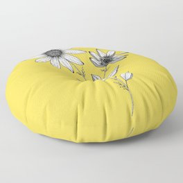 Wildflower line drawing   Botanical Art Floor Pillow