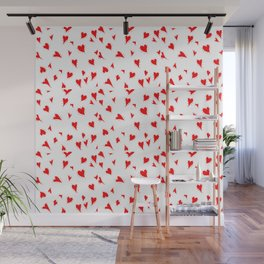 Scattered Hand-Drawn Bright Red Painted Hearts Pattern on White Wall Mural