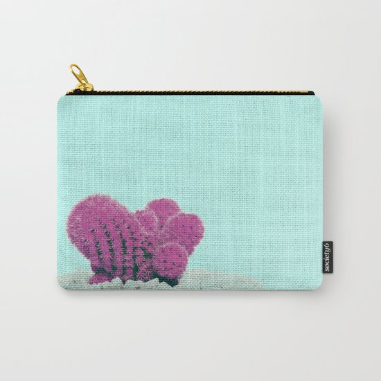 Vintage Pink Cactus on Blue Carry-All Pouch