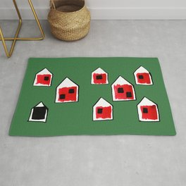 Small Red Village with a Black Lamb on Green Rug