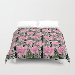 Gentle roses on a lace background. Duvet Cover