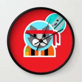 Kung Fu Astro Kitty Wall Clock