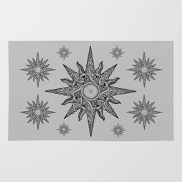 Surf in a windrose – compass (tattoo style) Rug