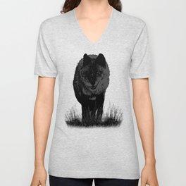 Grey wolf stalking prey. Gift for boyfriend Unisex V-Neck