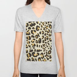 Trendy brown black abstract jaguar animal print Unisex V-Neck
