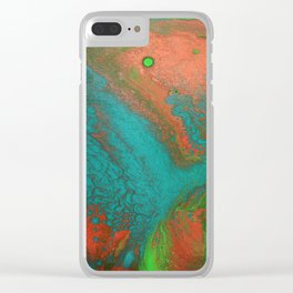 Rusty Jade: Acrylic Pour Painting Clear iPhone Case