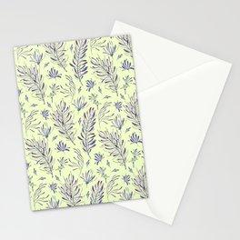 Botanical lilac violet ivory watercolor floral motif Stationery Cards