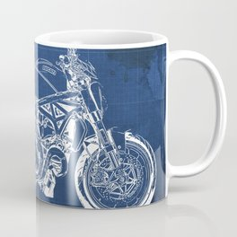 2019 Ducat Monster 1200 25° Anniversario blue blueprint gift for bikers Coffee Mug