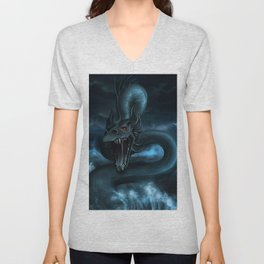 Fearsome Monstrous Deep Sea Hydra Wyvern Creature UHD Unisex V-Neck