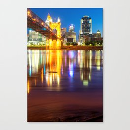 Cincinnati Ohio Skyline Reflections at Dawn Canvas Print