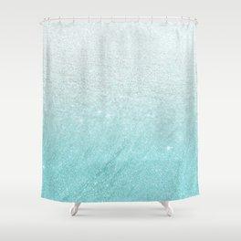 Modern chic teal pastel gradient faux glitter Shower Curtain