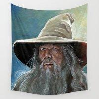 gandalf Wall Tapestries featuring Gandalf the Grey by Manuela Mishkova