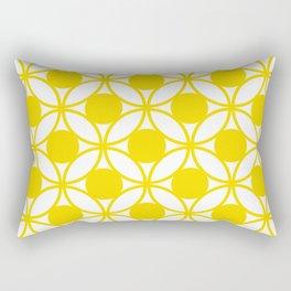 Geometric Floral Circles Summer Sun Shine Bright Yellow Rectangular Pillow