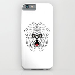 Roaring cool lion with glasses shows the boss iPhone Case
