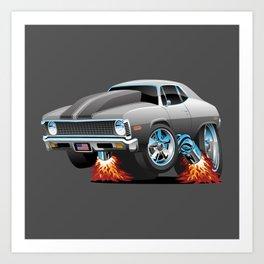 Classic American Muscle Car Hot Rod Cartoon Art Print