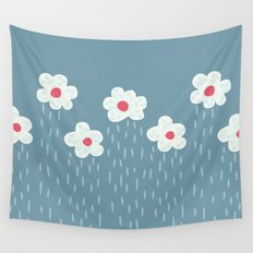 Rainy Flowery Clouds Wall Tapestry