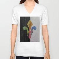 fleur de lis V-neck T-shirts featuring Fleur de Lis by Michael Creese