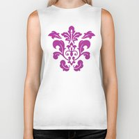 damask Biker Tanks featuring Fuchsia Damask by Bailey Anderson