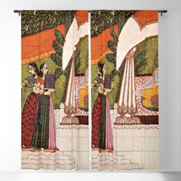 Indian Masterpiece: Krishna and Radha in a pavilion portrait painting Blackout Curtain