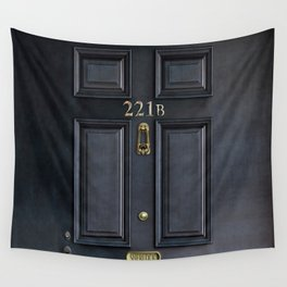 Haunted black door with 221b number Wall Tapestry