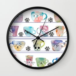 Coffee cups with watercolor pastel colored cat faces Wall Clock