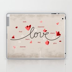 Love, Butterfly Hearts & Text Unique Valentine Laptop & iPad Skin