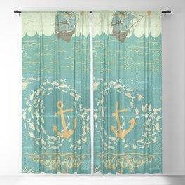 GOLDEN ANCHOR Sheer Curtain