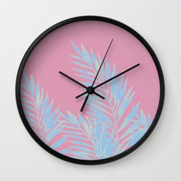 Palm Leaves Blue And Pink Wall Clock