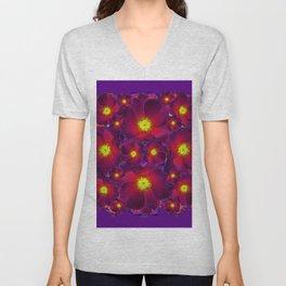 Purple Dark Burgundy Color Flower Pattern Unisex V-Neck