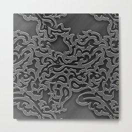 Floral embossing - chrome Metal Print