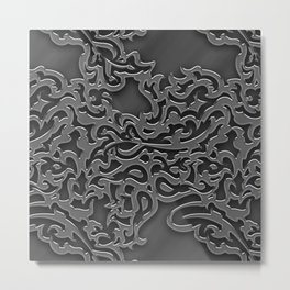 Floral embossing - chrome Metal Print