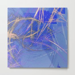 Blue Pink Abstract Metal Print