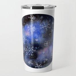 Watercolor Galaxy with Snowflakes Travel Mug