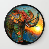 hippie Wall Clocks featuring Elephant's Dream by Waelad Akadan