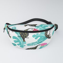 Watercolor toucan and leaves Fanny Pack
