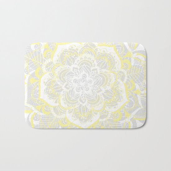 Woven Fantasy - Yellow, Grey & White Mandala Bath Mat