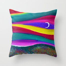 Moonlight Magic - Abstract Sky - Landscape Oil Painting Throw Pillow