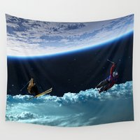 skiing Wall Tapestries featuring Skiing by Cs025
